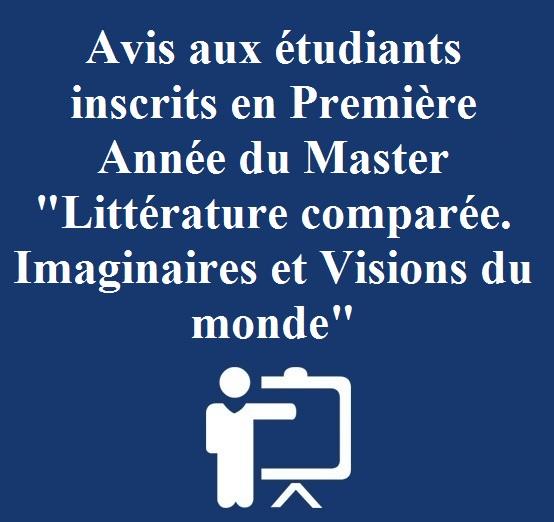 Avis aux étudiants inscrits au master Littérature comparée Imaginaires et visions du monde