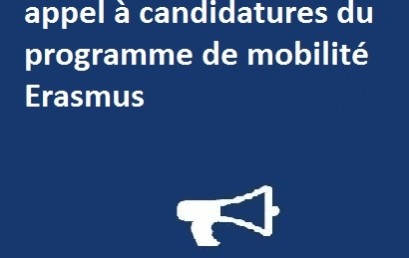 Ouverture  de l'appel à candidatures du programme de mobilité Erasmus +avec l'Université (Alexandru Loan Cuza)de lasi Romanie.