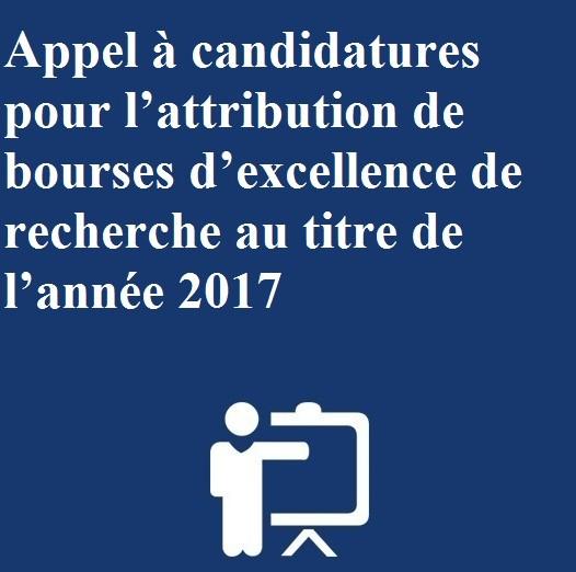 Appel à candidatures pour l'attribution de bourses d'excellence de recherche au titre de l'année 2017