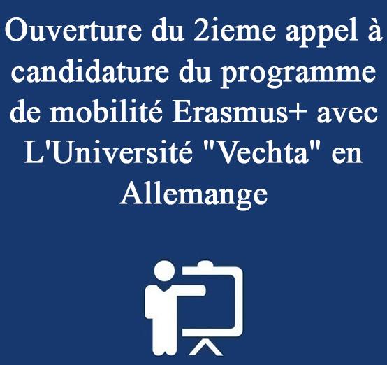Ouverture du 2ieme appel à candidature du programme de mobilité Erasmus+ avec L'Université «Vechta» en Allemange