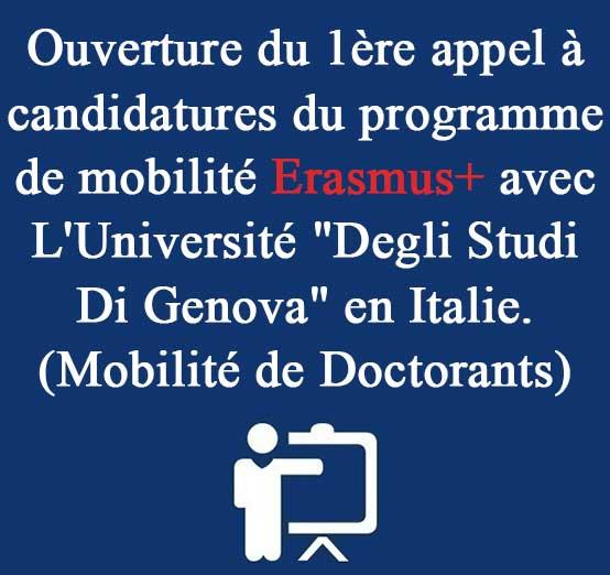 Ouverture du 1ère appel à candidatures du programme de mobilité Erasmus+ avec L'Université «Degli Studi Di Genova» en Italie. (Mobilité de Doctorants)