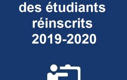 Liste provisoire des étudiants réinscrits 2019-2020